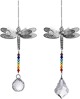 Crystal Suncatcher Chakra Colors Beads Dragonfly Window Hanging Ornament Rainbow Suncatcher,Pack of 2 for Christmas Day,Wedding,Plants,Cars,Window Decor