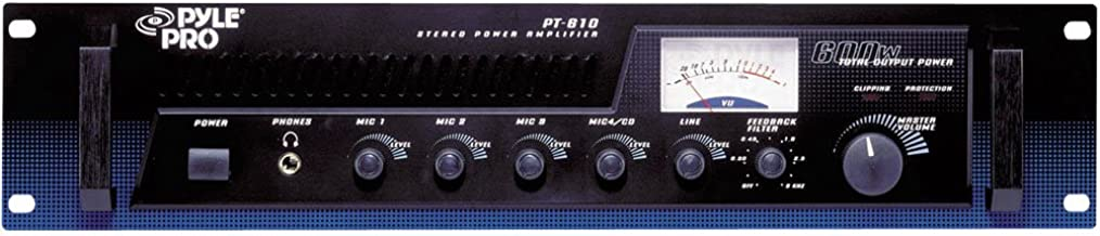 5-Channel Home Audio Power Amplifier - Mixer w/ 70V Output - 600 Watt Rack Mount, Headphone, Mic Talkover for PA System Gr...