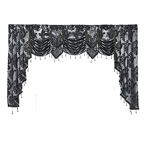 "NAPEARL European Style Luxury Waterfall Valance Living Room Window Decoration (Black, 1 Valance 81""Wx49""L)"