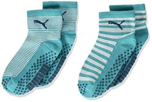 PUMA unisex-baby Kids' Invisible Socks (2 Pack) 265002001, Aqua Green, 15-18