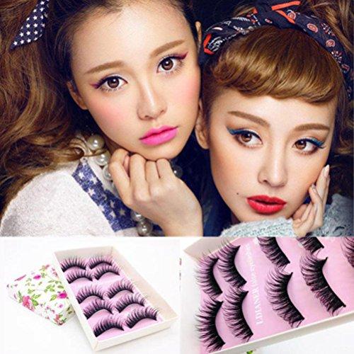 Eyelashes 5 Paires De Faux Cils Rawdah 5 Paires De Mode Naturel à La Main Longue Faux Maquillage De Cils Noirs