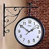 SUYUDD Reloj De Doble Cara para Exteriores Reloj Colgante Impermeable para Patio, Área Exterior Termómetro Antiguo Reloj De Estación De Tren Reloj De Dos Caras para Interiores/Exteriores