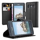 Cadorabo Hülle für Huawei Ascend Y300 - Hülle in Phantom SCHWARZ – Handyhülle mit Kartenfach & Standfunktion - Case Cover Schutzhülle Etui Tasche Book Klapp Style