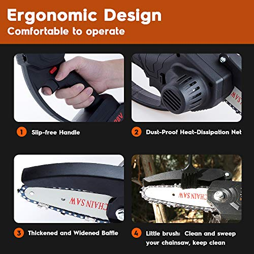 Mini Electric Chain Saw, 4 Inch Portable Electric Pruning Saw 21V Cordless Mini Chainsaw Battery Operated Rechareable for Tree Branch Wood Cutting -Two Batteries Two Chains (mini Chainsaw)