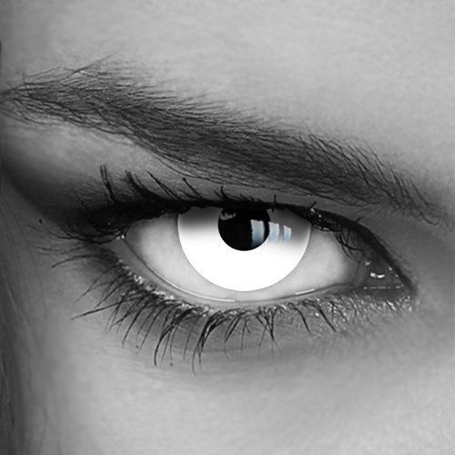 Farbige Jahres-Kontaktlinsen White Out (003) - MIT Stärke - Crazy Fun Halloween Fasching - von LUXDELUX® - (-8.00 DPT in Minus)