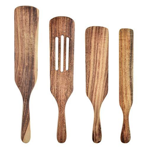 Juego de 4 espátulas de madera con ranuras para utensilios de cocina antiadherentes, mezclando (carne, ensalada, mantequilla) utensilios de cocina de teca natural (juego de 4 piezas)