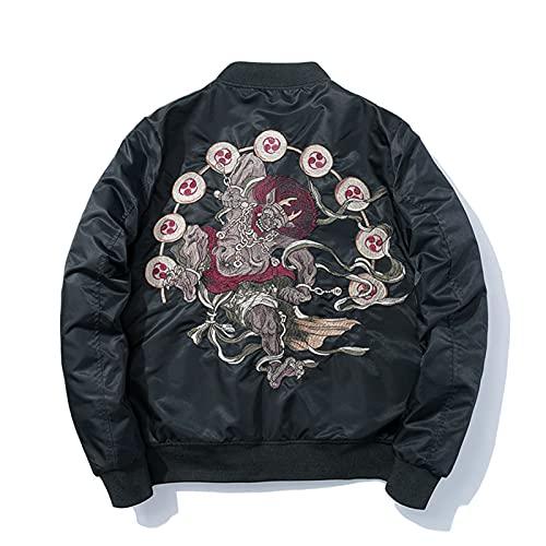 Street Jackets Men Japanese Embroidery Jacket Tracksuit Coats Hip Hop Casual Male Windbreaker Streetwear Thick Black XXL