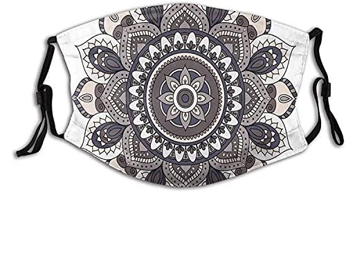 Moda 2 capas lavable Protcetion máscara reutilizable, flor oriental mandala vintage Boho abstracto redondo Yoga Motif | con filtro