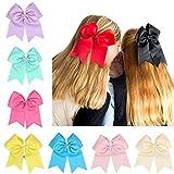 Veewon 12 Stück Groß Boutique Kinder Haar schleife mit Gummiband Tupfen Große Haarbögen für Babyhaarbögen Babyzubehör