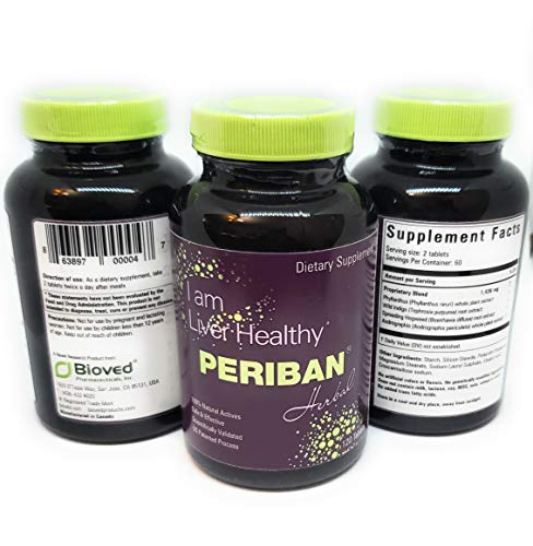 PERIBAN Liver Support -Blend of Andrographis Paniculata, Boerrhavia Diffusa, Tephrosia Purpurea, Phyllanthus Niruri. Proven to Support The Body's Natural Liver Functions and Immune Health