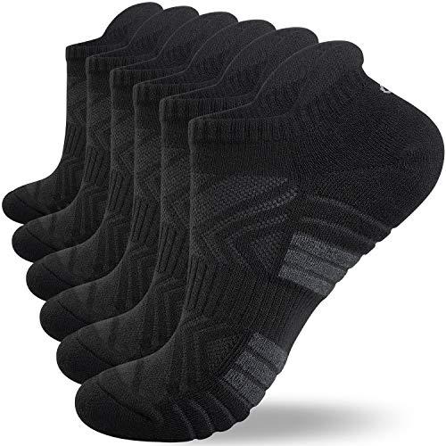 anqier 3 Paar Sneaker Socken Herren Damen Gepolsterte Laufsocken 43-46 39-42 35-38 47-50 Socken Damen Atmungsaktiv Schwarz Weiß Grau Baumwolle Sportsocken