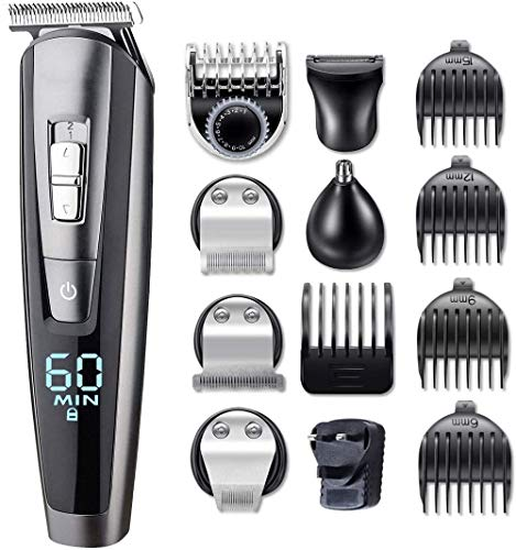 Pelo tijeras de corte Herramienta 5 en 1 for Casa Clipper pelo Trimmer Barba Nose Trimmer Hombres inalámbrico pelo Trimmer Clipper Trimmer bigote cuerpo Groomer Kit recortador de precisión Nose Trimme