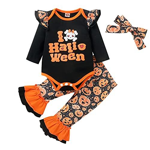 Chollius Disfraces 3 piezas bebés y niños mameluco Halloween manga larga 'Mama is My Boo'+pantalones largos elásticos con estampado araña fantasma calabaza+sombrero 0-18 meses (negro B, 12-18 meses)
