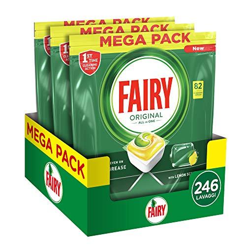 Fairy Original Plus Allin1 Pastiglie Lavastoviglie, 246 Cicli, 3 x 82 Capsule, Detersivo al Limone, Maxi Formato, Rimuove il Grasso Incrostato con Azione Brillante
