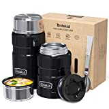 Thermoses for Hot Food - (Bidakid) 2 Pack Stainless Steel Thermoses Containers with Lid Vacuum and Folding Spoon Insulated Lunch Jar for Hot Cold Food Soup for Kids and Adults (25.4oz+17oz)…