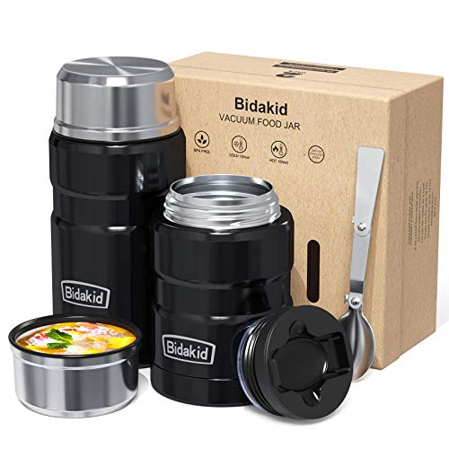 Bidakid Thermoses for Hot Food 2 Pack Stainless Steel Thermoses Containers with Lid Vacuum and Folding Spoon Insulated Lunch Box Jar for Hot Cold Food Soup for Kids and Adults (25.4oz+17oz)…