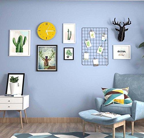 TV achtergrond muur opknoping schilderij combinatie decoratieve schilderij, creatieve muur opknoping massief hout frame,5 fotolijst+gele muur klok+ijzer Grid+splicing herten hoofd