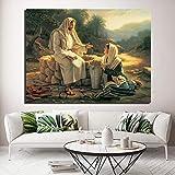 QZHSCYB Jesús Habla con una Mujer samaritana Impresión en Lienzo Imagen de Arte de Pared Pintura de Dios para Sala de Estar Póster Decoración del hogar de pared-60X80cm 24x32 Pulgadas sin Marco