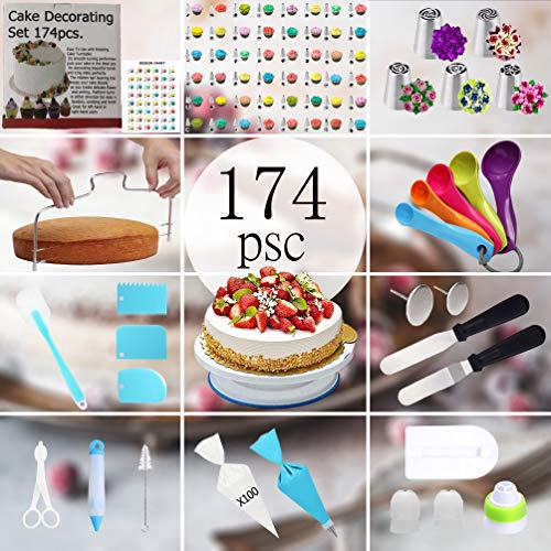 174pcs Cake Decorating Supplies Kit Cake decorating set Baking Tools Kids Cake with cake Turntable