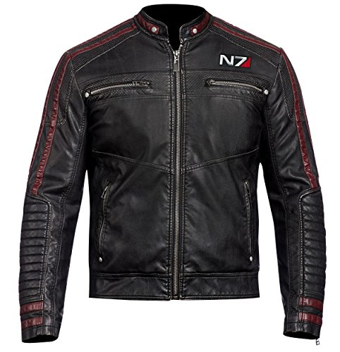 Fashion_First Herren Mass Effect 3 N7 Commander Shepard Black Gaming Kostüm Lederjacke Gr. XXX-Large, Schwarz