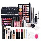 QiHong Juego de maquillaje, portátil, 27 piezas, kit de maquillaje profesional multiusos, todo en uno, kit básico esencial, con caja de almacenamiento, regalos para niñas principiantes