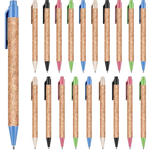 20 Pieces Cork Retractable Ballpoint Pens Wheat Straw Pens with Comfortable Grip Plastic Alternative for School, Office, Home Use, 1.0 mm, Black Ink Ballpoint Pens