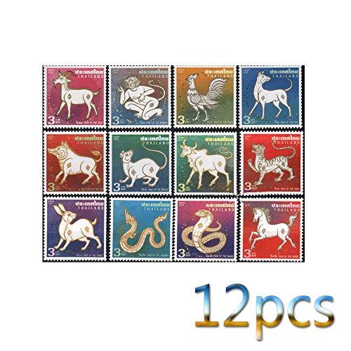 Zodiac,Stempel,Die Vereinigten Staaten,Thailand,Andreas,1997,Briefmarkensammeln,Sammlung,Neu,Schön,Hund,Drachen,Denkmal Metall/A/Quadrat