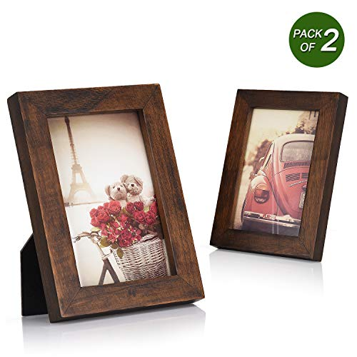 Emfogo 4x6 Picture Frames Photo Display for Tabletop or Wall Mount Solid Wood High Definition Glass Photo Frame Pack of 2 Vintage Walnut