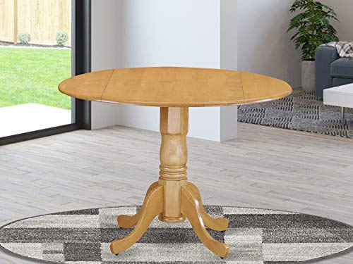East West Furniture DLT-OAK-TP Dublin Table - Oak Table Top Surface and Oak Finish Pedestal Legs Hardwood Frame Dinner Table