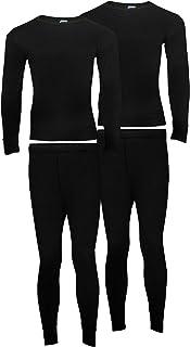 Heat Stoke®️ Pack of 2 Men's Thermal Long Sleeves T-Shirt Long Johns Trouser Set Warm Baselayer Black Charcoal White S,M,...