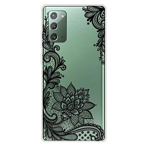 Miagon Transparent Hülle für Samsung Galaxy S20 FE,Schwarz Blume Muster Kreativ Süße Durchsichtig Klar Soft Ultra Dünn Silikon Case Cover Schutzabdeckung