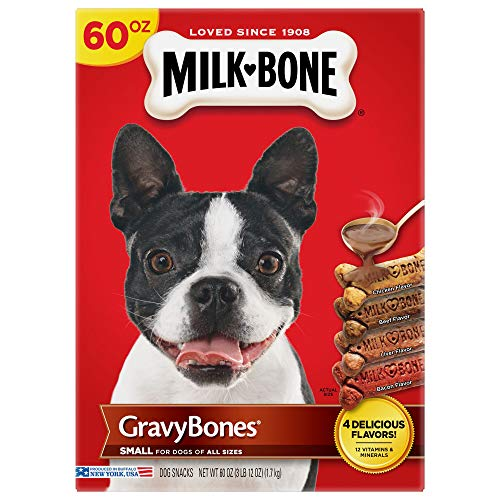 Milk-Bone Gravy Bones Dog Treats for Dogs of All Sizes, Chicken, Beef, Liver & Bacon Flavored Small Biscuits, 60 Ounces (Pack of 3)