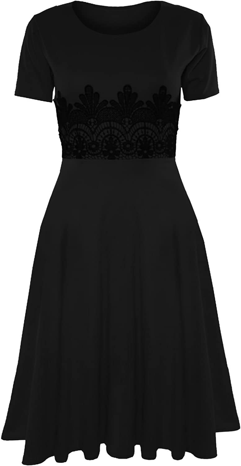 Oops Outlet Women's Cap Sleeve Waist Lace Insert Flared Skater Midi Dress