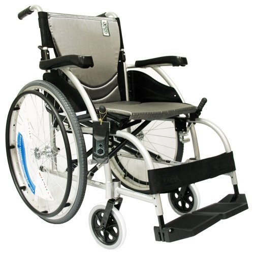 """Karman S-105 27 lbs Ergonomic Wheelchair with Fixed Footrest 18"""" Seat"""