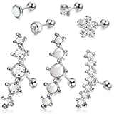 LOYALLOOK 4-6Pcs CZ Barbell Helix Piecing Cartilage Earring Stainless Steel Nose Lip Studs Opal Tragus Body Piercing...
