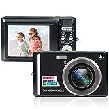 fotocamera digitale, macchina fotografica digitale da 21 megapixel con zoom digitale 8x fotocamera compatta lcd da 2,4 pollici per vlogging con due batterie