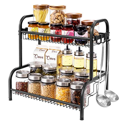 Oyydecor Spice Rack Spice Rack Organizer for Countertop 2 Tier Kitchen Spice Rack Spice Organizer Standing Rack Shelf Storage Racks Kitchen Rack for Spice Can Sauce With 8 Hooks