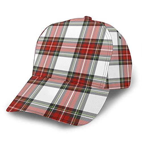 Jack16 Gorra de béisbol ajustable para hombre y mujer, sombrero de Papá Noel a cuadros de Navidad, ajuste para cola de caballo juvenil, tenis, pelota de golf, gorra ajustada