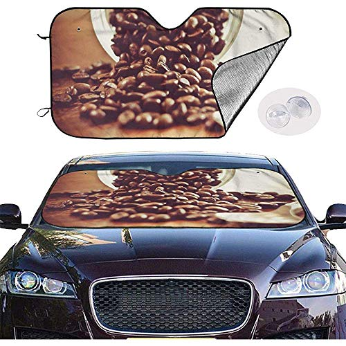 KDU Fashion Car Sunshade,Kaffeebohne Sonnenschutz Weiche Qualität Fahrzeug Windschutzscheibe Sonnenschutz Für Auto Minivan Fahrzeug 76x140cm