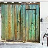 Cortina de Ducha Vintage, rústica Puerta de Madera Vieja con Entrada de la casa Toscana con fotografía de Textura Antigua, decoración de baño de Tela de Tela con Ganchos, Menta marrón