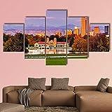 ComposicióN De 5 Cuadros De Madera Para Pared Denver Skyline, Colorado Canvas Wall Cuadros Decoracion Dormitorios Cuadros Para Cabeceros De Cama Lienzos Decorativos Cuadros Grandes Baratos 150x80cm