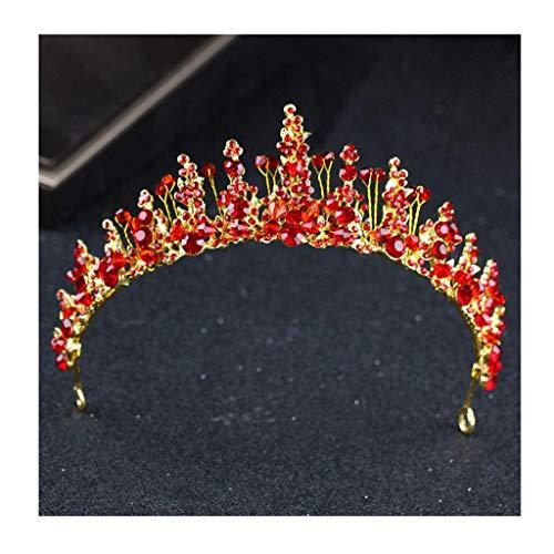 Tocado Corona Completa Corona de Diamantes de imitación Accesorios para niñas Nuevas Fotografía Pasarela Diadema Accesorios para el Cabello de Boda (Color: A)
