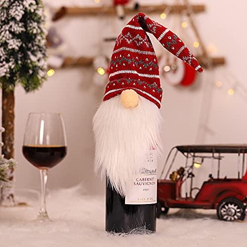 GBLDLY Botella de champán reutilizable de Navidad Gnomos de Navidad Botella de vino Tapa de botella de Topper de Navidad Muñeca Decoración de Santa Muñeco de Nieve Vacaciones Bolsa de Regalo