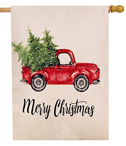 Dyrenson Merry Christmas Red Truck 28 x 40 House Flag Vintage Tree Double Sided, Xmas Quote Burlap Garden Yard Decoration, Rustic Winter Seasonal Outdoor Décor Decorative New Year Holiday Large Flag
