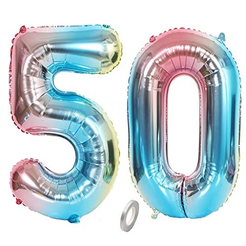 Jrzyhi Globos de número 50 cumpleaños arco iris gigante número 50 helio número 50 grande número XXL número 50. Happy Birthday gigante globos para fiesta de cumpleaños 32 pulgadas