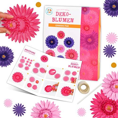 Basteleset Blumen (Gerberas rosa) Bastelset Kinder l einfach und kreativ Papier Blumen basteln für Mädchen und Jungen l Bastel Set ab 4 Jahren l Schöne Beschäftigung für Kindergeburtstag l Kreativ Set