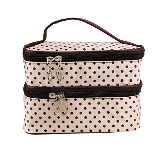 PIXNOR Polka Dot Kosmetik Taschen Handheld Womens zweischichtige Kosmetik Make-up Bag Toiletry Bag Organizer (cremeweiß)