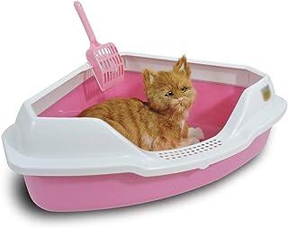 猫用トイレ本体 ゴミこぼれを防止するためのフェンスと猫コーナーゴミ箱ペットの三角形のゴミ鍋 適当な容量、快適に使える (色 : ピンク, サイズ : 55*46*17cm)