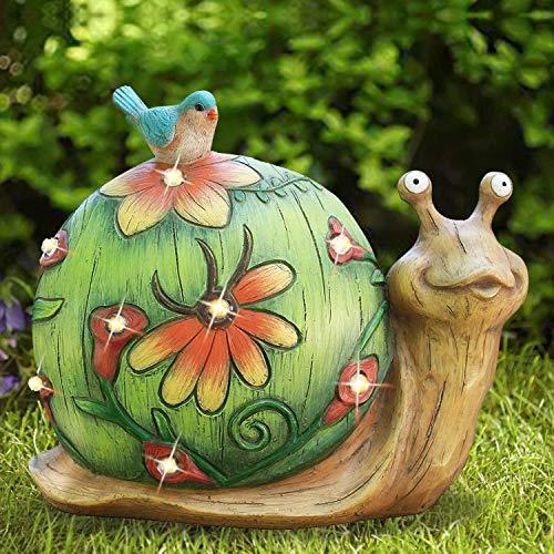 La Jolíe Muse Ornamento da Giardino ad energia Solare a Forma di Lumaca - Statua da Giardino a energia Solare Figurine di Animali per Cortile Prato Decorazione per la casa Regalo, Lumaca