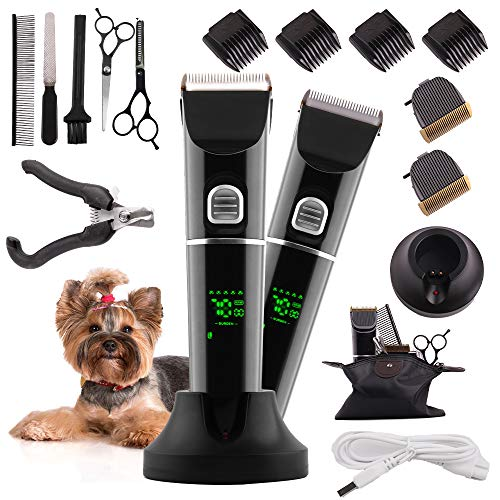 FREGENBO Dog Clippers for Grooming, Dog Grooming Clippers kit with 2 Pack Blades, Low Noise Pet Hair Clippers USB Rechargeable Cordless Professional Pet Grooming Kit with LED Display